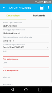 Comarch Mobile - pola Karty Obiegu