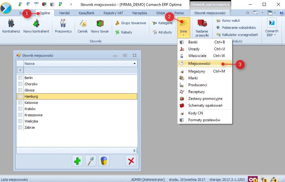 Jak dodać słownik do miejscowości do Comarch ERP Optima1