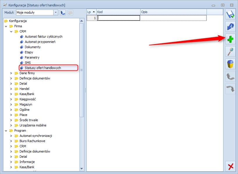 Jak dodać status oferty handlowej w module CRM systemu Optima1