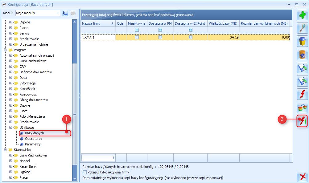Jak sprawdzić rozmiar firmowej bazy danych w programie Comarch ERP Optima1