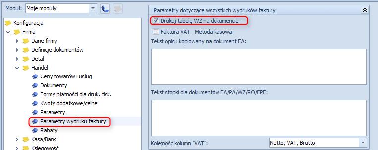 Jak ustawić drukowanie tabelę WZ na dokumentach faktur1