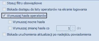 Jak ustawić wymuszanie hasła przy logowaniu operatora w Optimie1