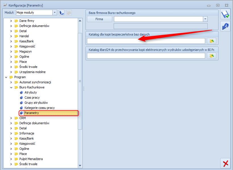 Jak wskazać katalog kopii bezpieczeństwa w module biuro rachunkowe systemu Optima1