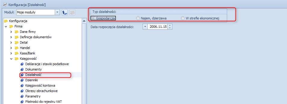 Jak zmienić typ działalności w programie Optima1