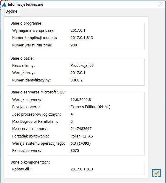 Jak uzyskać w Comarch ERP XL techniczne informacje na temat instalacji (wersja, nazwa bazy, serwer SQL, zgodność komponentu rabaty.dll)2