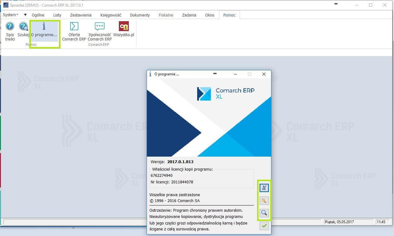 Jak uzyskać w samym Comarch ERP XL informacje na temat klucza i aktualnie pobranych licencji1