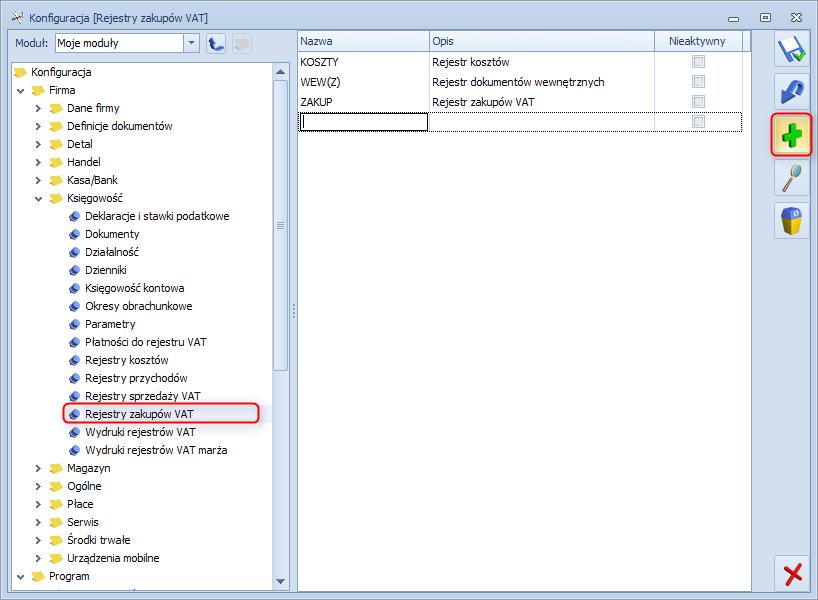 Jak dodać nowy rejestr VAT w programie Optima1