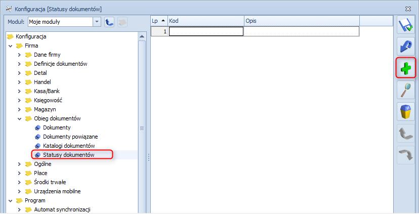 Jak dodać status dokumentu w module obieg dokumentów systemu Optima1