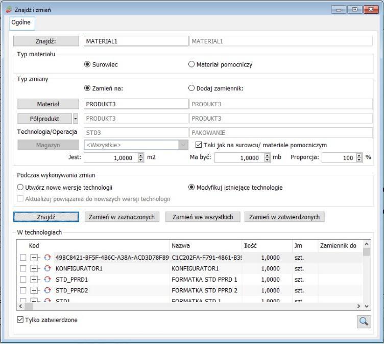 Jak masowo modyfikować technologie – podmieniać stosowane materiały w module Produkcja Comarch ERP XL2