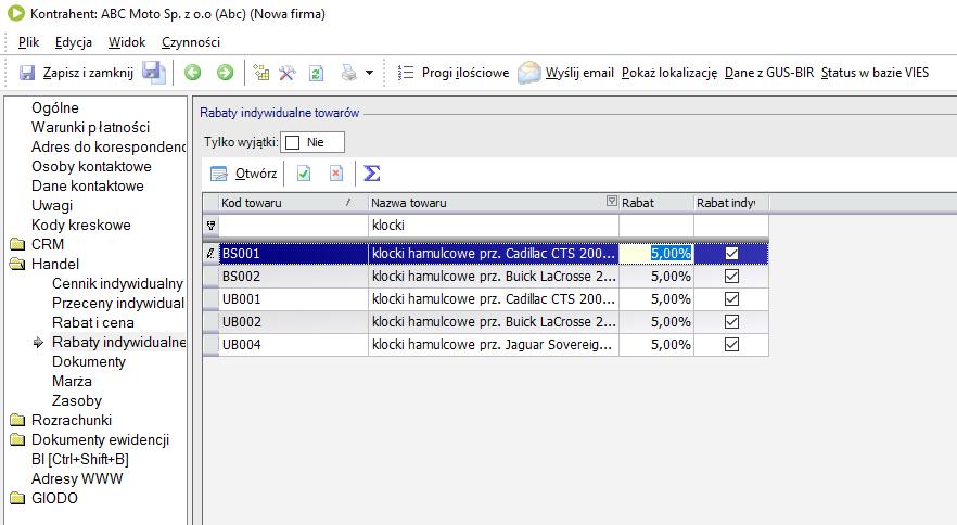Jak wprowadzić rabaty indywidualne towarów dla danego kontrahenta w enova3651